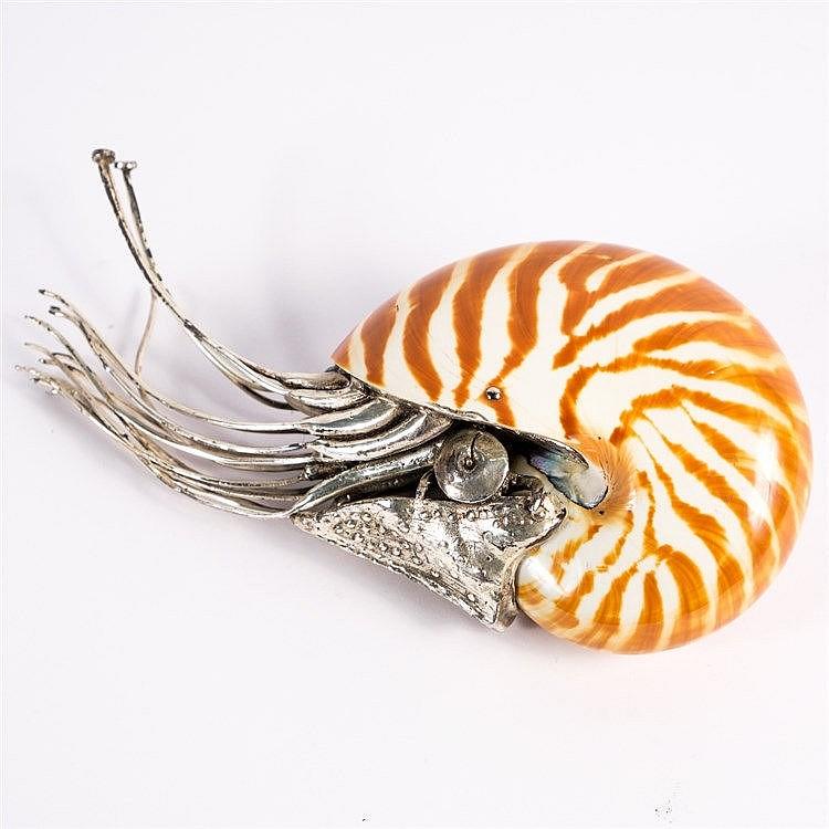 A Chinese white metal Nautilus