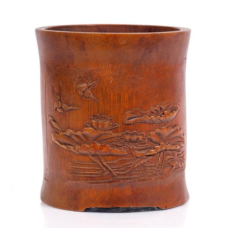 A Chinese bamboo brush pot