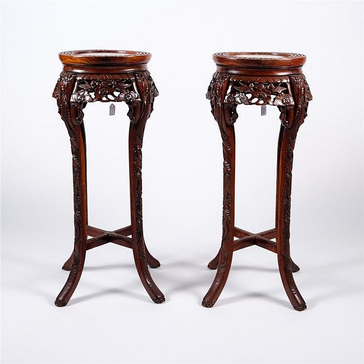 A pair of Chinese hardwood stands