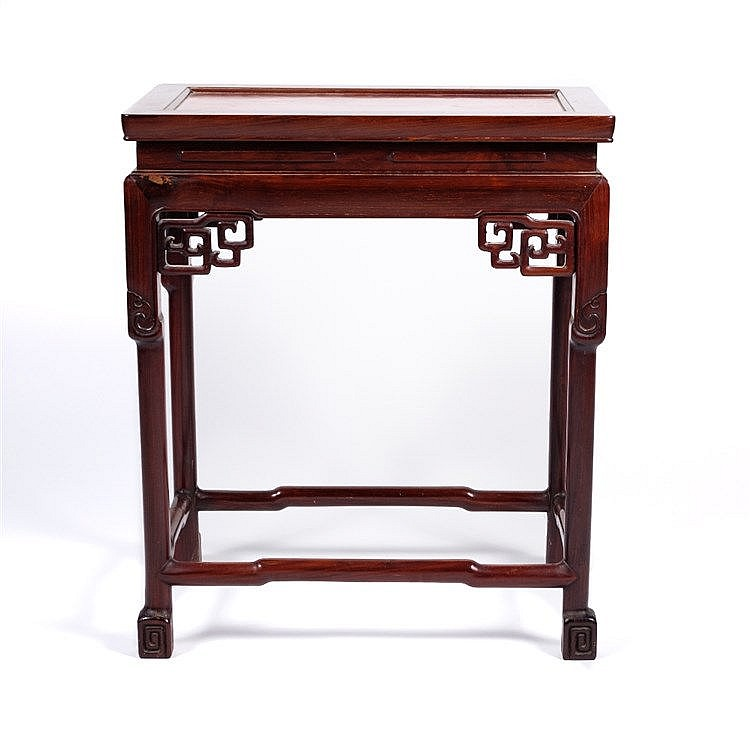 A Chinese hardwood urn table