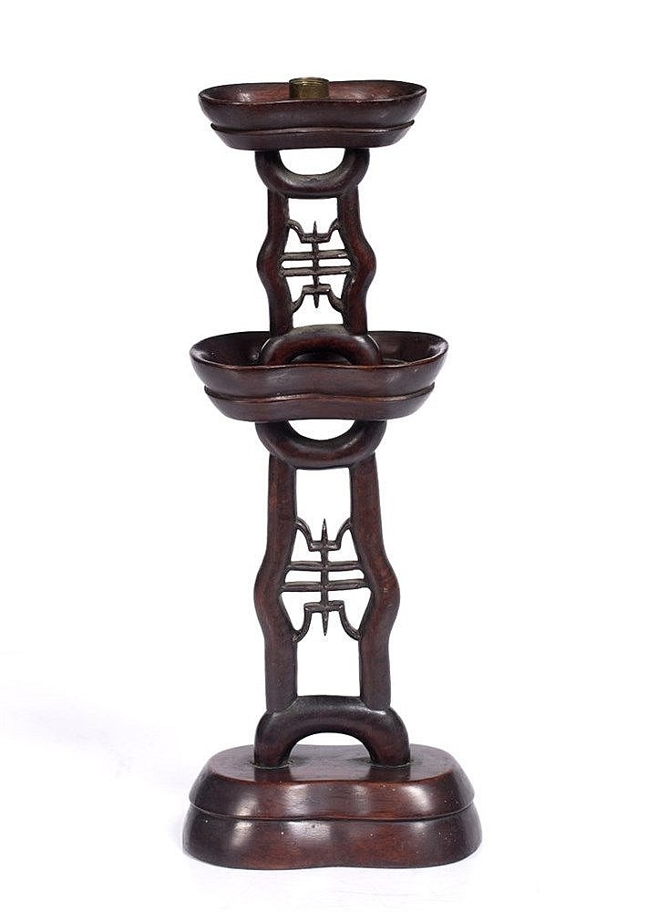 A Chinese hardwood wig stand