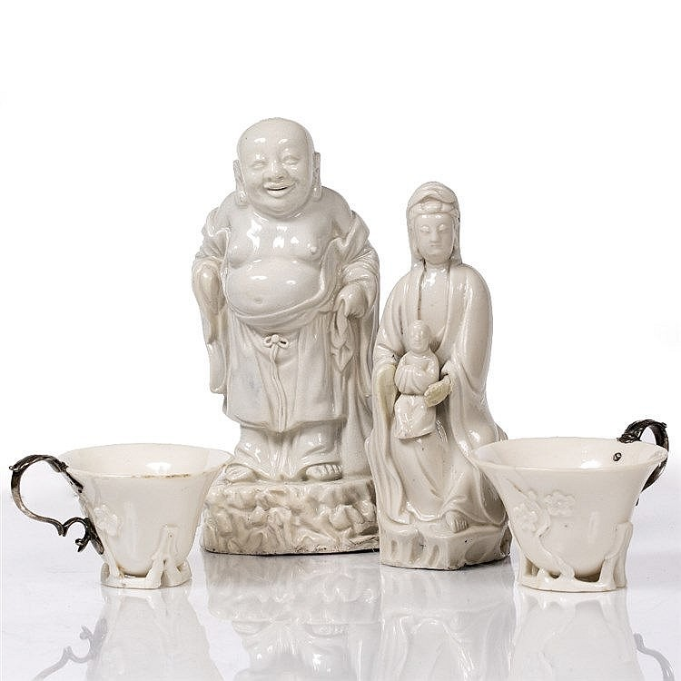Two Chinese dehua libation cups