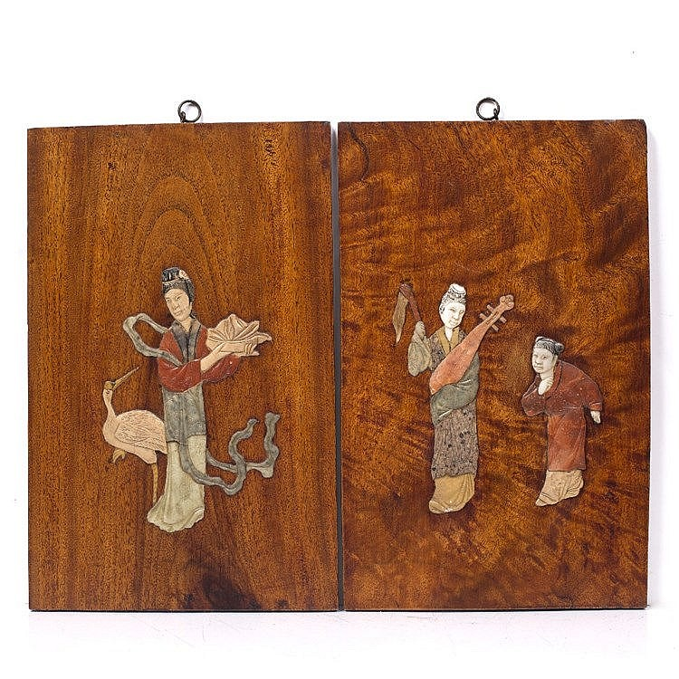 A pair of Chinese wood panels