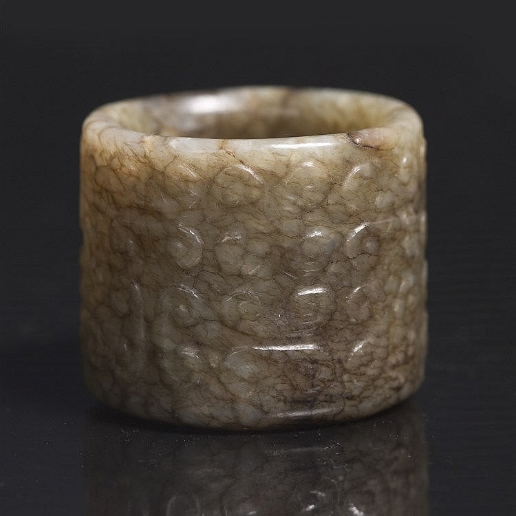 A Chinese jade archer's thumb ring