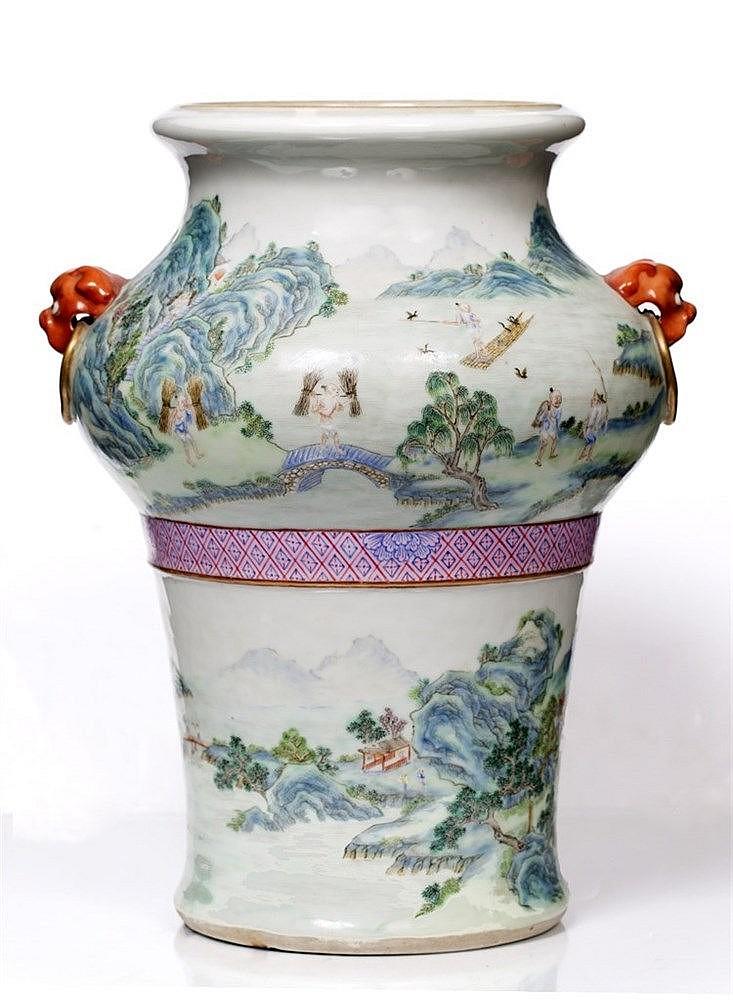 A Chinese Hu shaped vase