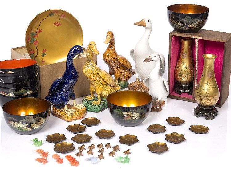 A collection of Chinese lacquer pieces
