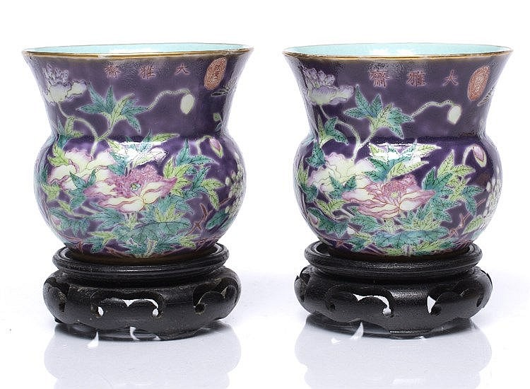 A pair of Chinese Dowager Duchess style Hu shaped beaker vases