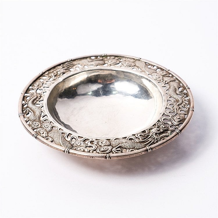 A Chinese white metal dish