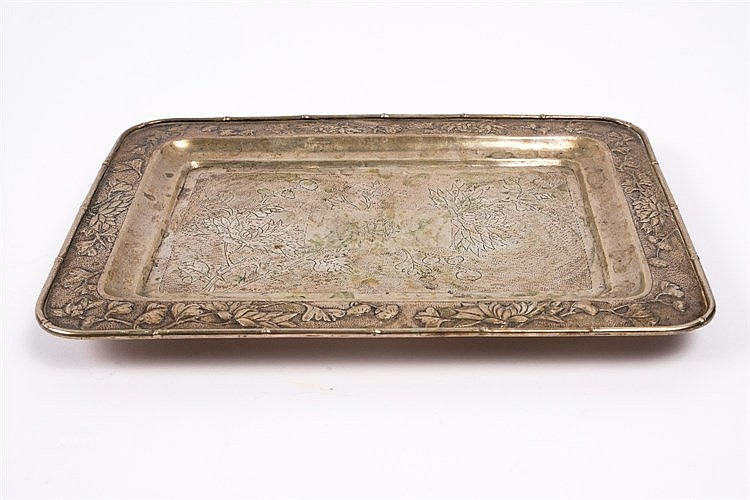 A Chinese white metal tray