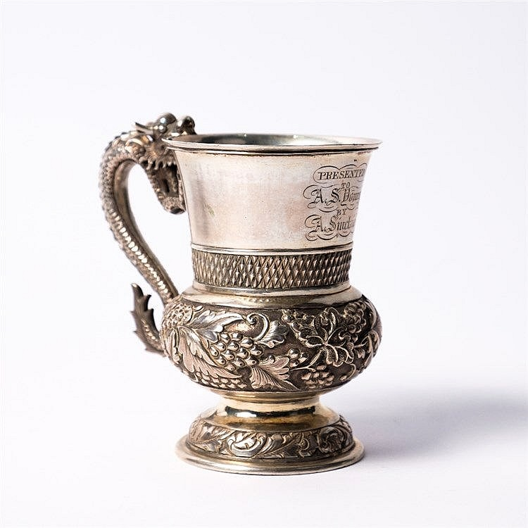 A Chinese white metal cup