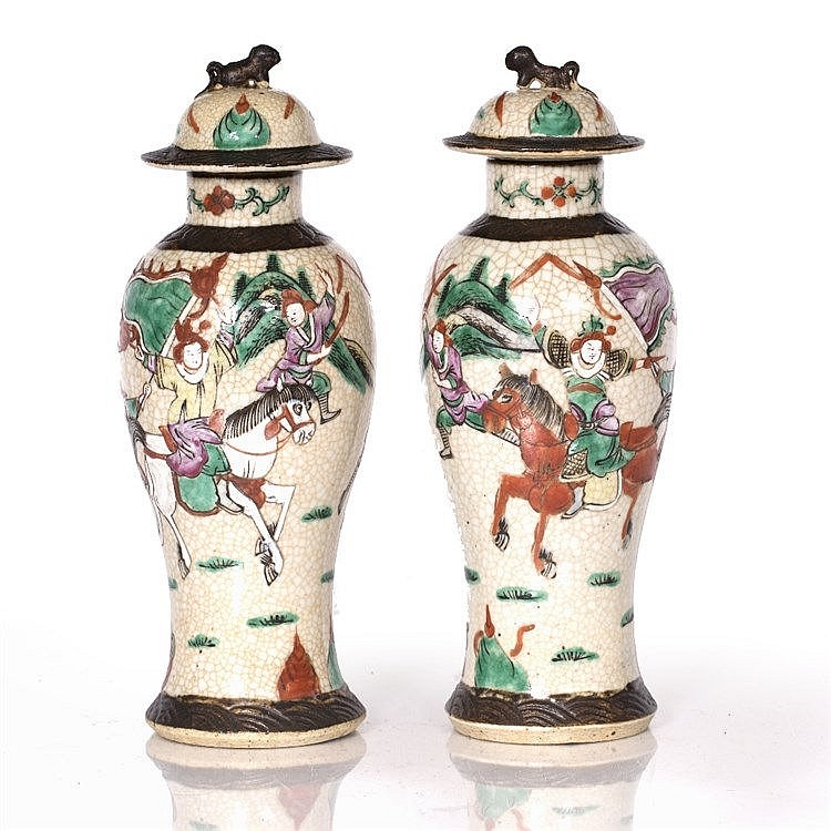 A pair of Chinese crackle ware vases