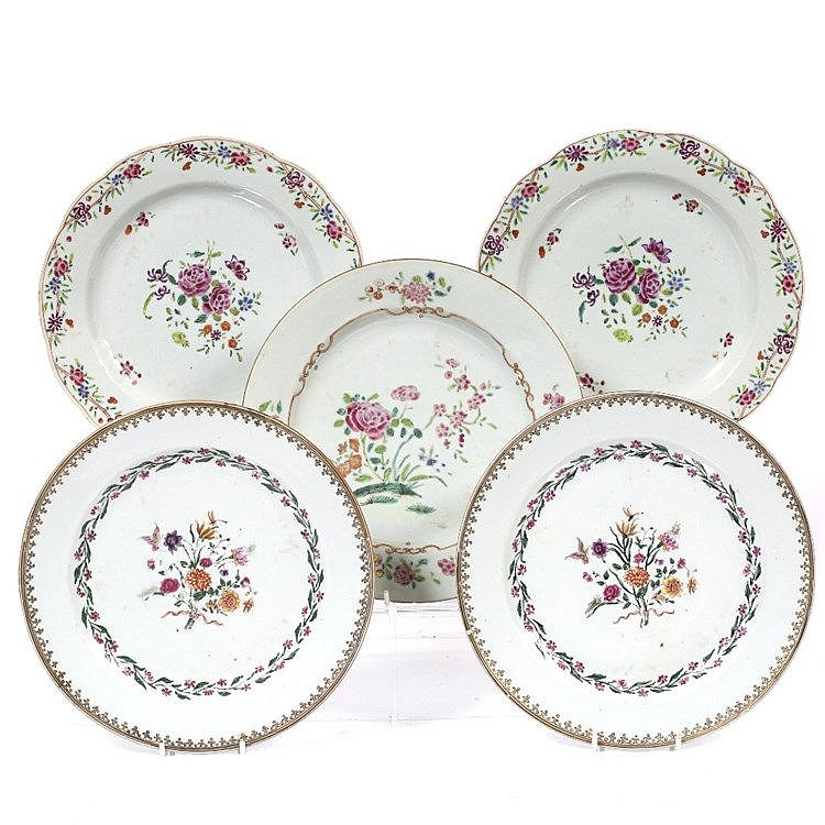 A pair of Chinese famille rose plates