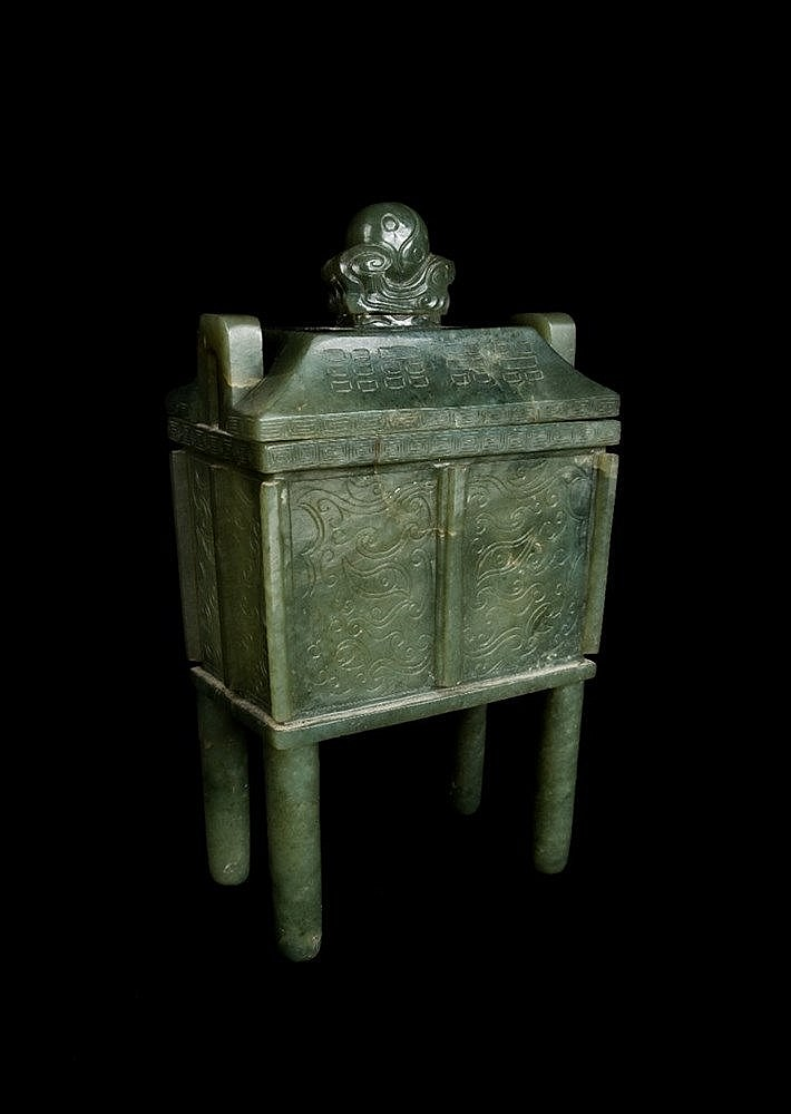 A Chinese leaf green jade archaic bronze style ting