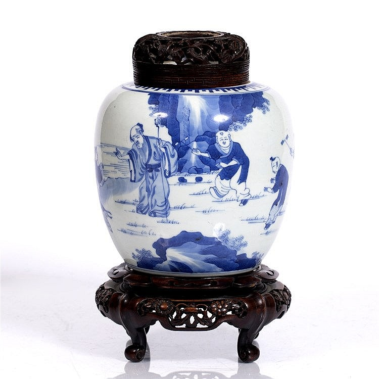 A Chinese blue and white ginger jar
