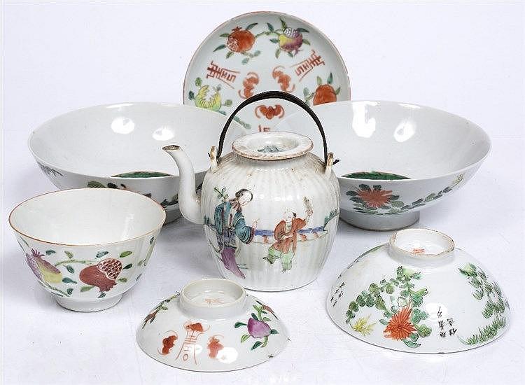 A Chinese enamel teapot