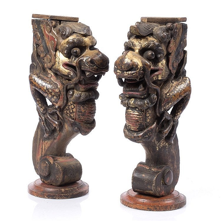Two Chinese carved wood brackets