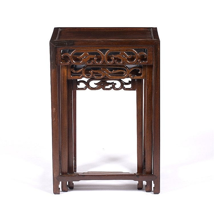 A nest of Chinese hardwood occasional tables