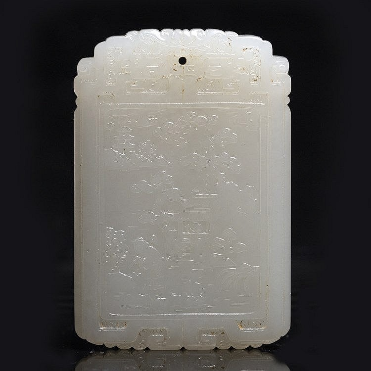 A Chinese white jade rectangular plaque pendant