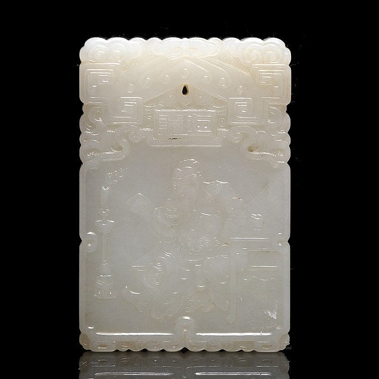 A Chinese white jade pendant plaque