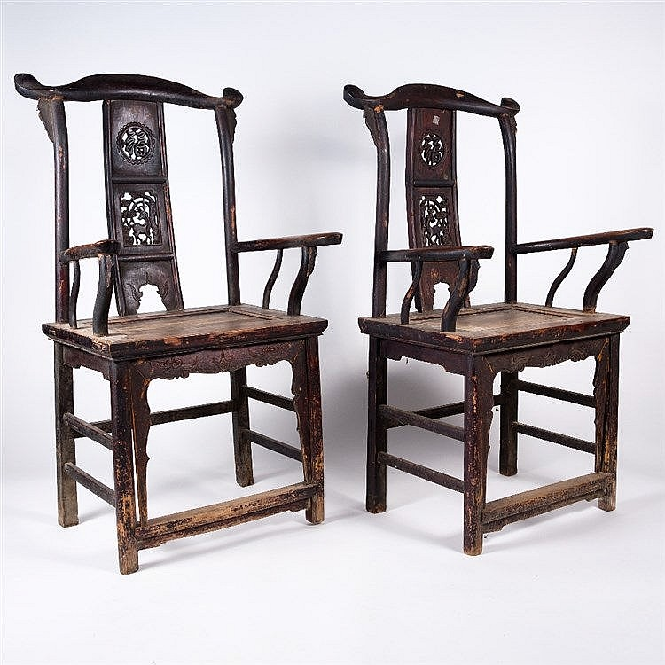 A pair of Chinese stained elm throne chairs