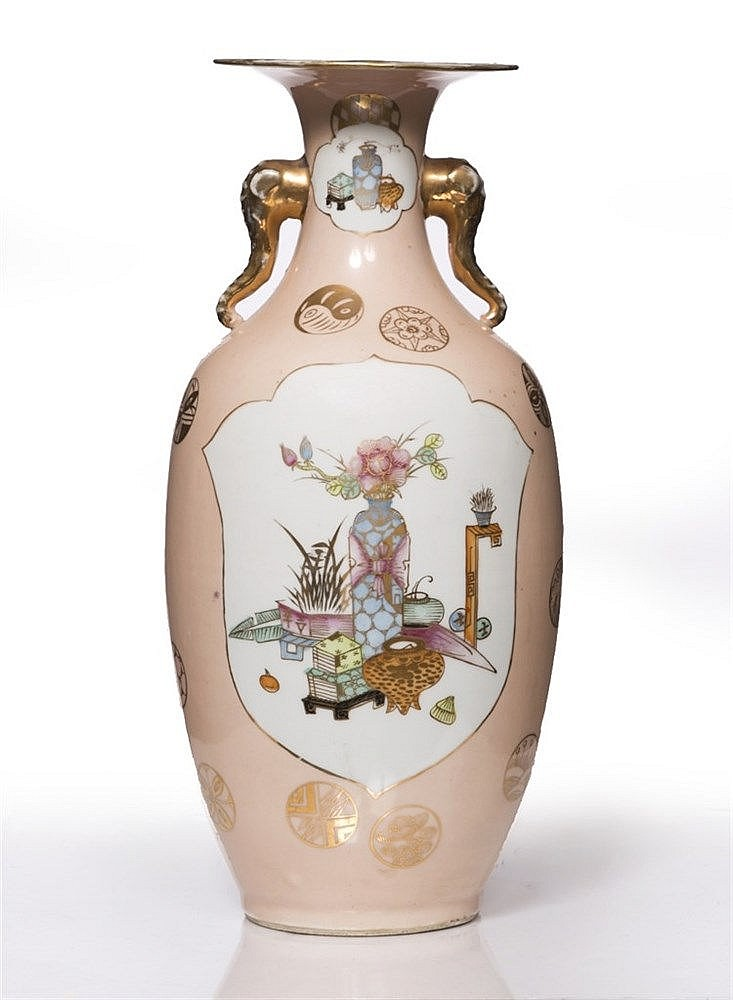 A Chinese pink ground vase