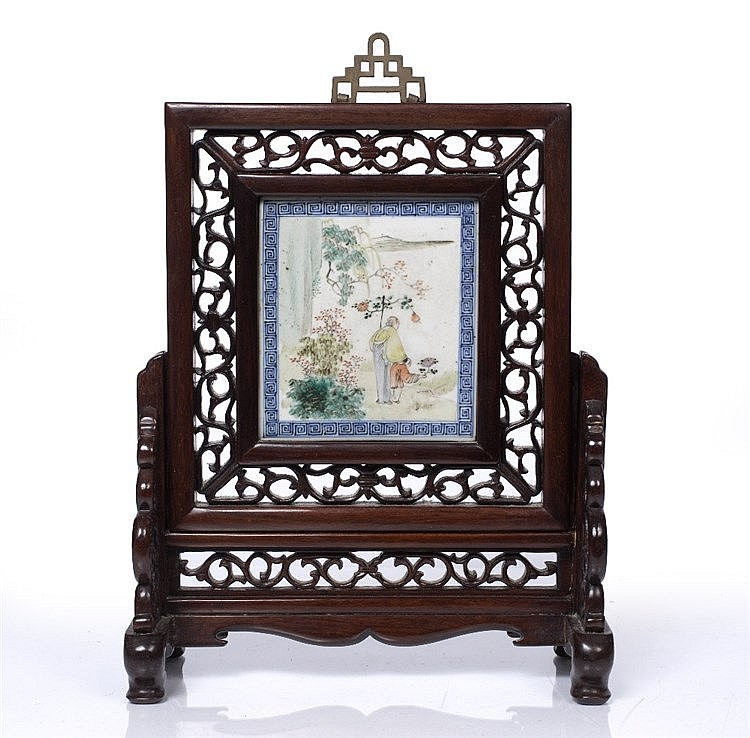 A Chinese famille verte table screen