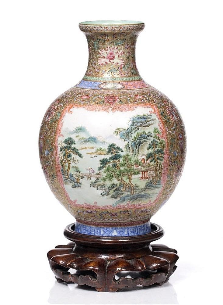 A Chinese egg-shell porcelain globular bottle vase