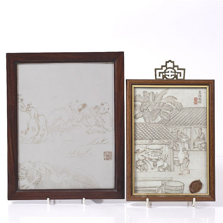A Chinese framed Peking glass panel