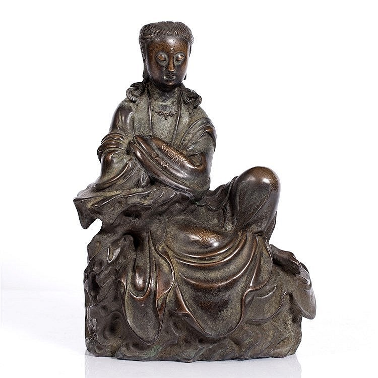 A Chinese bronze figure of Quanyin