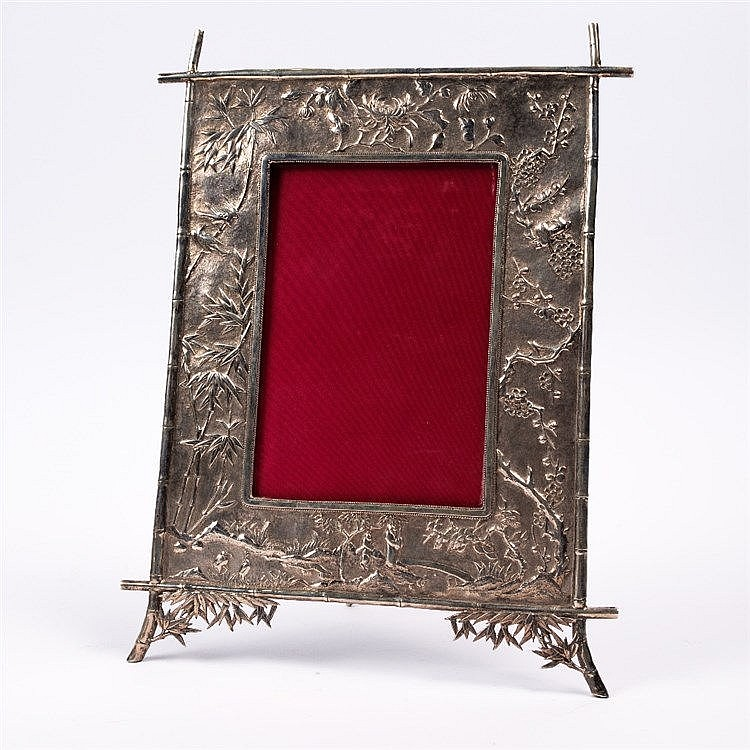 A Chinese white metal frame