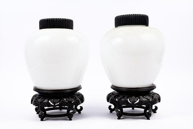 A pair of Peking glass ginger jars