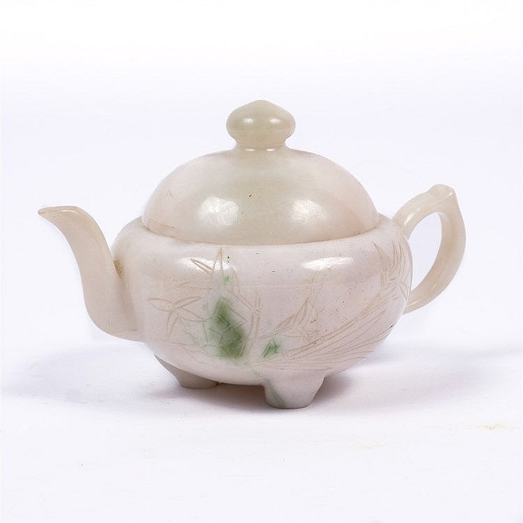A Chinese white jade teapot and cover