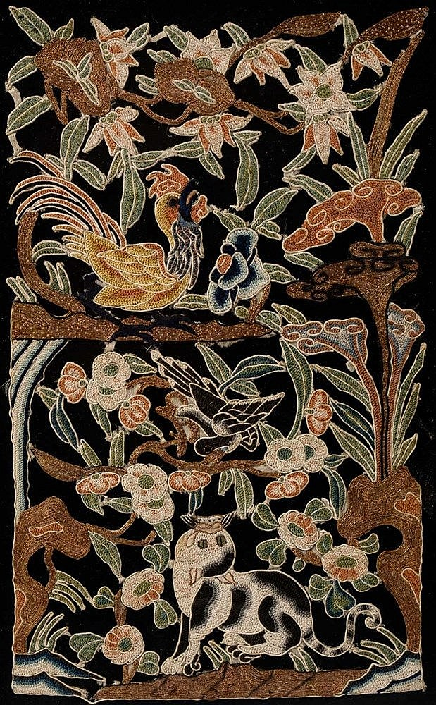 A pair of Chinese embroidered panels