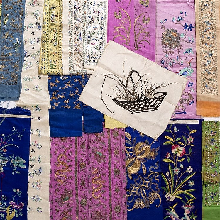 A collection of Chinese embroidered sleeve bands