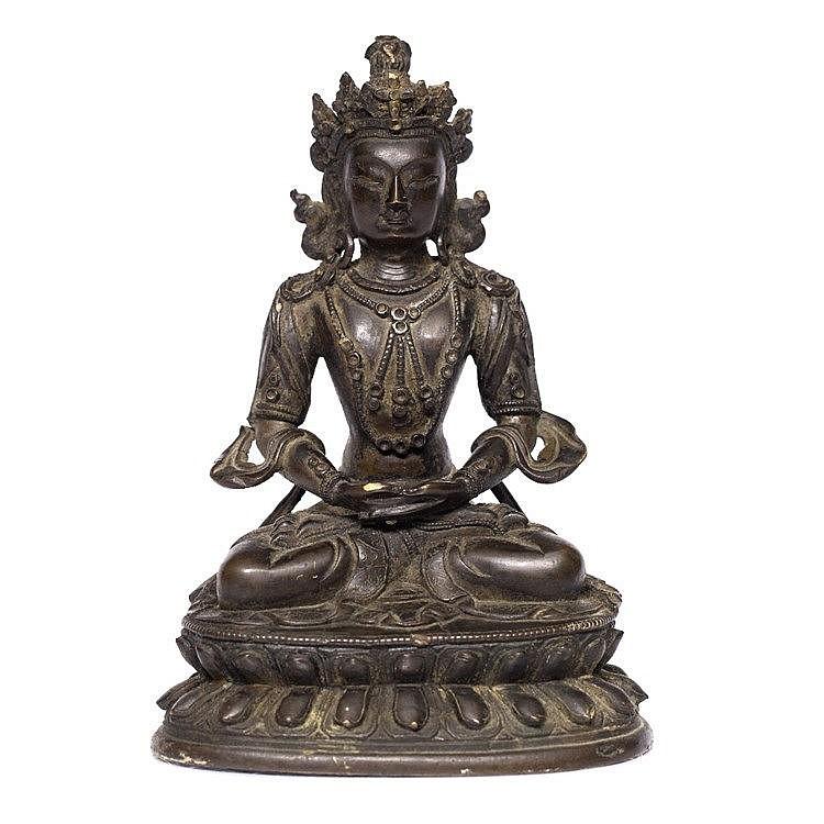 A Tibetan bronze figure of Avalokitesvara