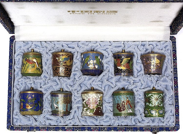 A set of ten Chinese cloisonne miniature pots and covers