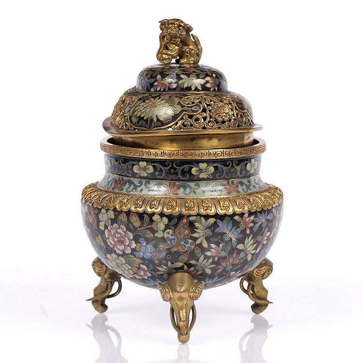 A Chinese cloisonne censer and cover