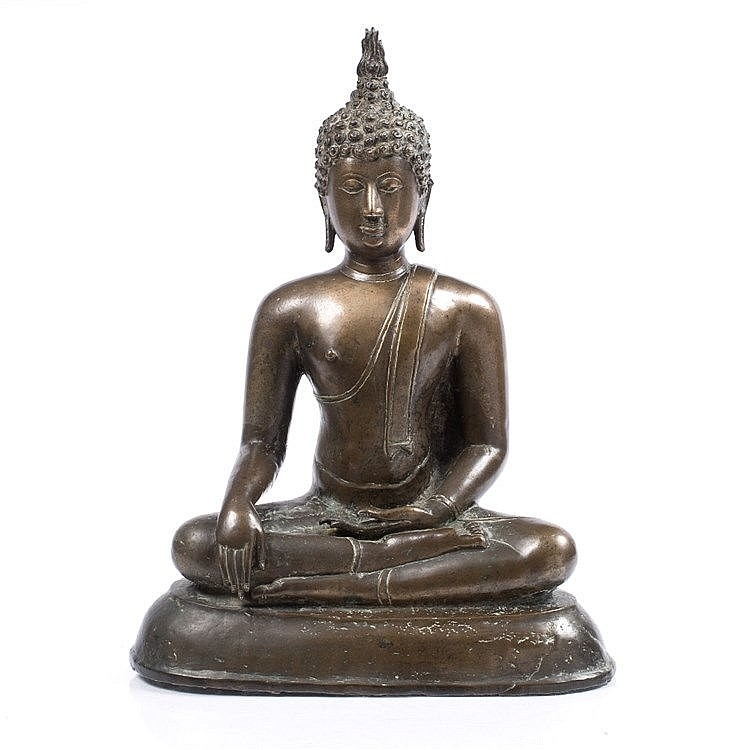 A large bronze figure of Buddha