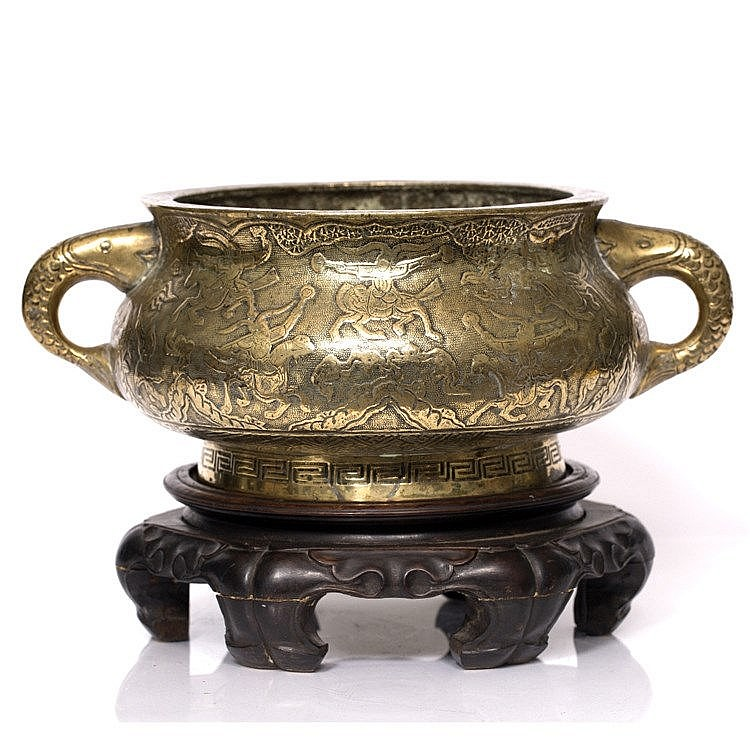 A large Chinese bronze two handled censer