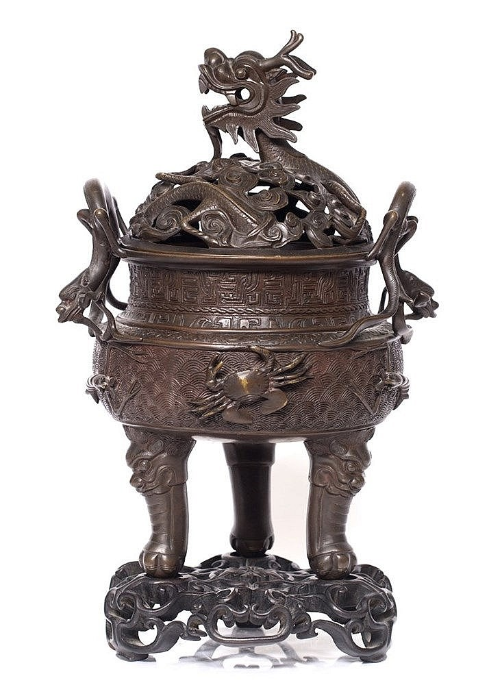 A Chinese archaic form bronze censer and cover