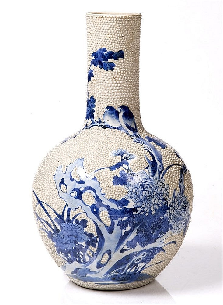 A Chinese blue and white porcelain bottle vase