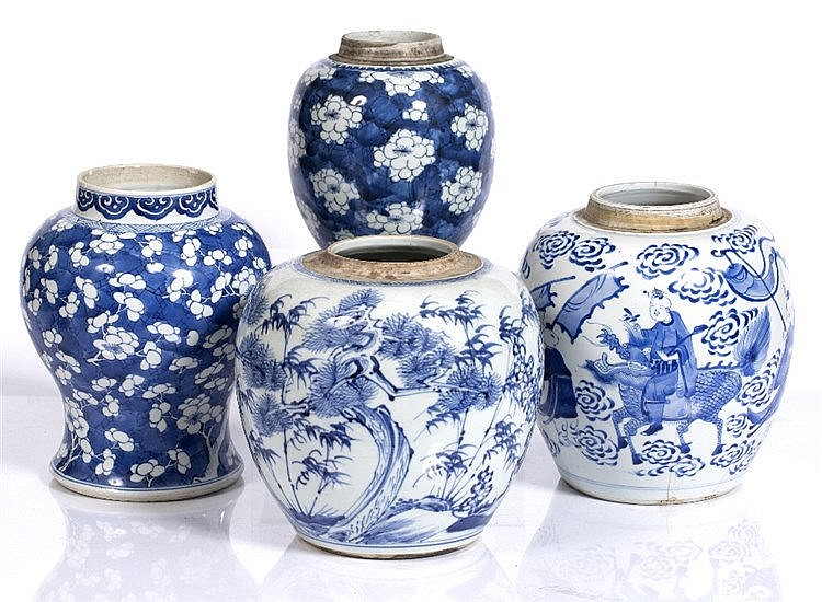 Three Chinese blue and white ginger jars