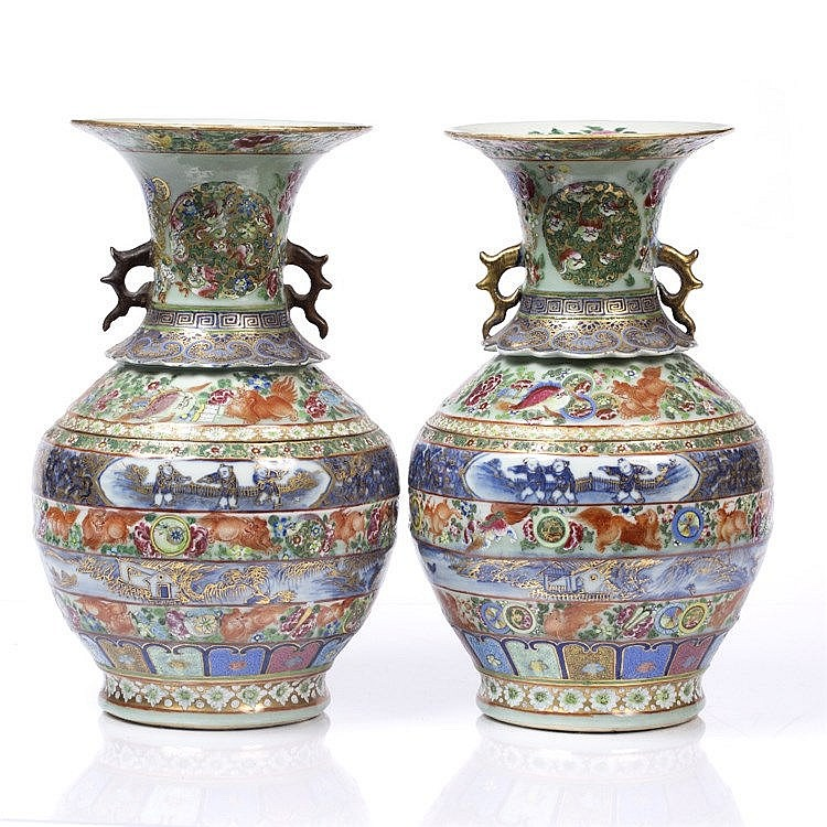 A pair of Chinese Canton baluster vases