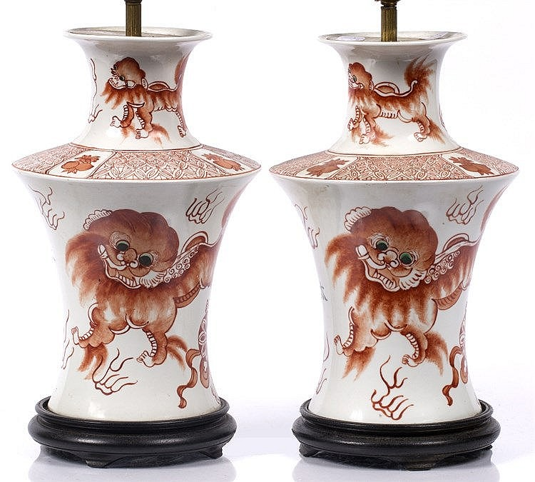 A pair of Chinese white ground vases