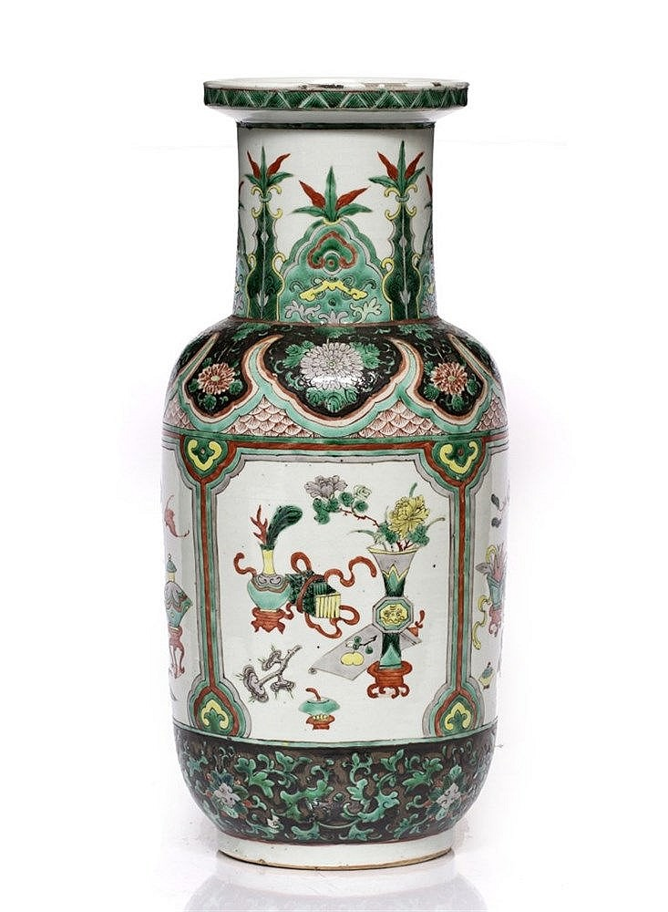 A Chinese famille rose rouleau vase