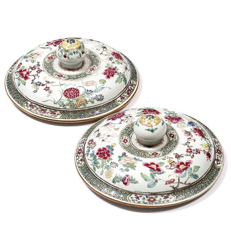 A pair of Chinese famille rose large vase covers/lids
