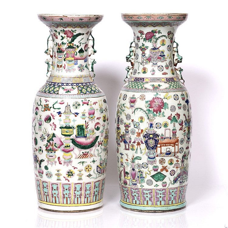 Two similar Chinese Canton vases