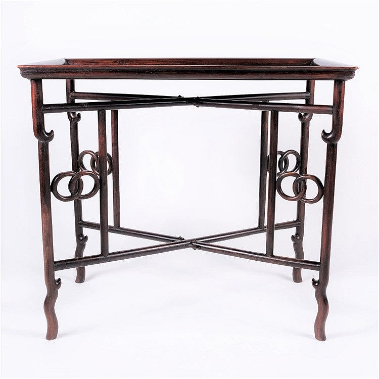 A Chinese hardwood rectangular butlers stand