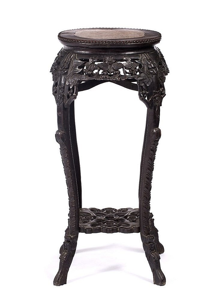 A large Chinese hardwood urn stand