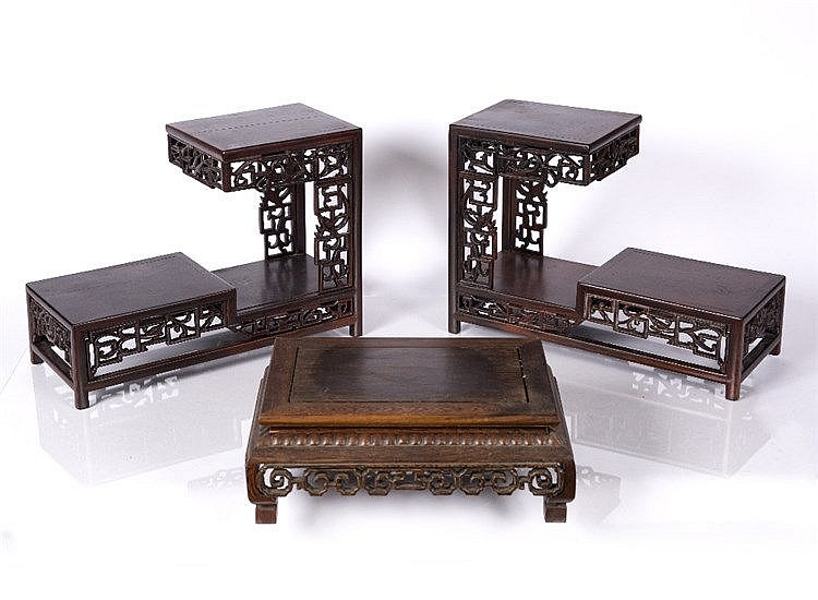 A pair of Chinese tiered hardwood stands